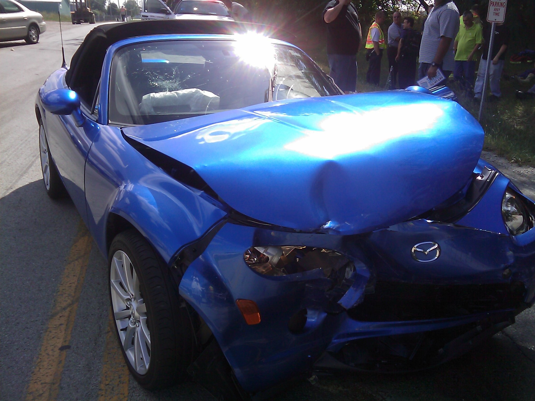 Car Accident, Automobile Accident, Car Wreck, Blue Mazda Miata Car Crash